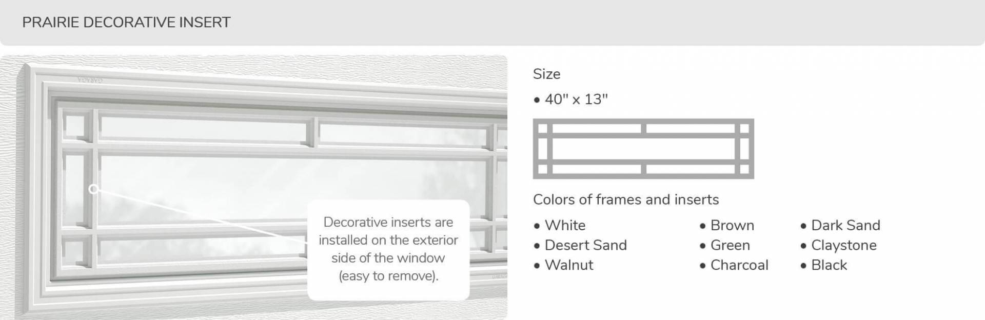 Prairie Decorative Insert, 40' x 13', available for door R-16